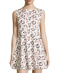 French Connection Floral Print Sleeveless Mini Dress Winter White Multi