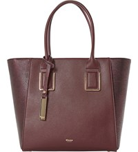 Dune Damazing Faux Leather Winged Shopper Bag Berry Plain Synthetic