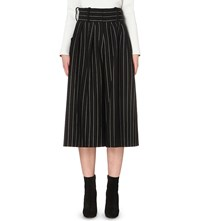 J.W.Anderson Jw Anderson Pleated Wide Leg Gabardine Culottes Black White
