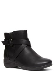 Evans Extra Wide Fit Black Strap Comfort Ankle Boot