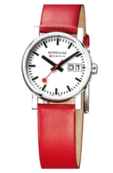 Mondaine ' Evo Lution' Leather Strap Watch 30Mm Red Silver