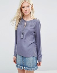 Vila Boho Top With Tassle Tie Folkstone Gray Grey