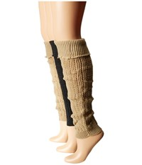 Steve Madden 3 Pack Leg Warmer Khaki Charcoal Black Women's Knee High Socks Shoes Brown