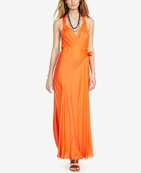 Polo Ralph Lauren Satin Wrap Dress Rafting Orange