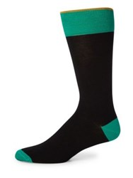 Saks Fifth Avenue Colorblock Combed Cotton Blend Socks Taupe Navy Teal Grey Yellow Black Green