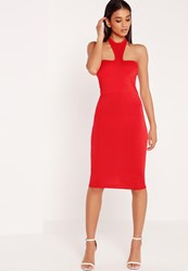 Missguided Jersey Halter Neck Bodycon Midi Dress Red Red