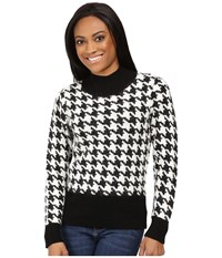 Pendleton Petite Houndstooth Pullover Black Ivory Women's Long Sleeve Pullover