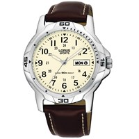 Lorus Rxn49bx9 Men's Sports Day Date Leather Strap Watch Brown Cream