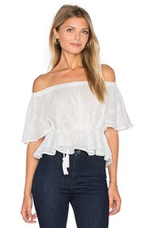 Finders Keepers Better Days Ruffle Top White