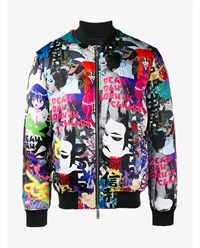 Dsquared Duck Down Manga Print Bomber Jacket Black Multi Coloured White