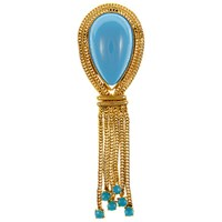 Eclectica Vintage 1960S Tassel Brooch Turquoise Gold