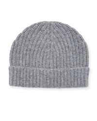 Neiman Marcus Ribbed Cuffed Beanie Hat Gray
