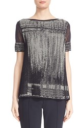 Lafayette 148 New York Women's Brushed Jacquard Sweater Ink Multi