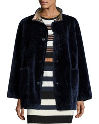Opening Ceremony Culver Reversible Faux Fur Coat Deep Navy Multicolor