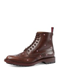 Gucci Flower Embroidered Lace Up Boot Brown