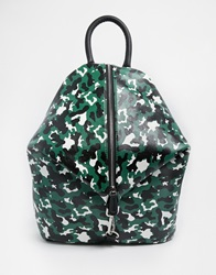 Asos Front Zip Backpack With Dog Clip And Pockets Camo
