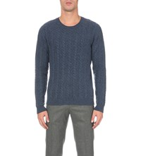 Gieves And Hawkes Cable Knit Cotton Cashmere Blend Jumper Blue