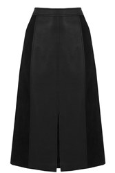 Oasis Suedette And Faux Leather Midi Black