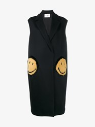 Anya Hindmarch Smiley Oversized Virgin Wool Blend Sleeveless Coat Navy Yellow Black Mink