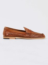 Topman Marne Loafer Tan Leather Woven Loafers Brown