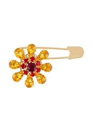 Dolce And Gabbana Crystal Flower Safety Pin Yellow And Orange
