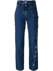 Courra Ges Button Detail Girlfriend Straight Leg Jeans Blue