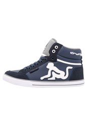 Drunknmunky Boston Classic Hightop Trainers Navy Blue Grey Dark Blue