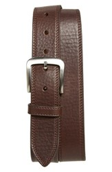 Men's Shinola Double Stitch Leather Belt Deep Brown