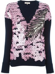 Emilio Pucci Sequin Embellished V Neck Sweater Blue