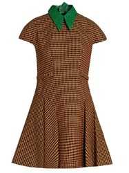 Delpozo Detachable Collar Tweed A Line Dress Orange Multi
