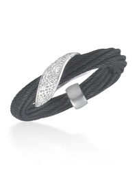 Alor Micro Cable Pave Diamond Wrap Ring Black