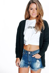 Petite Lily Edge To Edge Waffle Knit Black