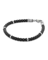 Lagos Black Caviar Ceramic Sterling Silver And 18K Gold Bracelet Black Silver