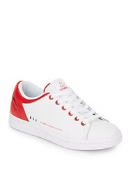 Eleven Paris Two Tone Leather Lace Up Sneakers White Red