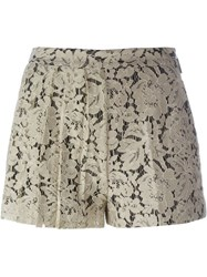 Msgm Pleated Lace Shorts Nude And Neutrals