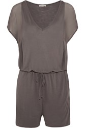 American Vintage Milaca Chiffon Paneled Stretch Jersey Playsuit Brown
