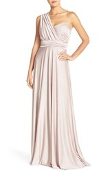 Women's Jenny Yoo 'Demi' Convertible Strapless Pleat Jersey Gown Moonstone Mauve