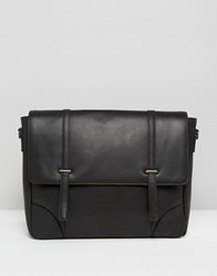 Asos Leather Satchel With Metal Fastening Black