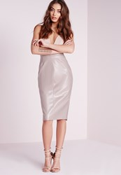 Missguided Faux Leather Seam Detail Midi Skirt Grey Grey