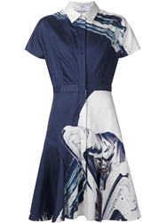 Prabal Gurung Abstract Print Shirt Dress Blue