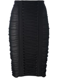 Balmain Lace Up Pencil Skirt Black