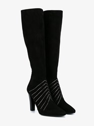 Saint Laurent Lily 95 Swarosvki Embellished Suede Tall Boots Black
