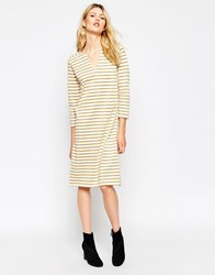Ganni Striped Gold Glitter Dress Naturegoldglitter