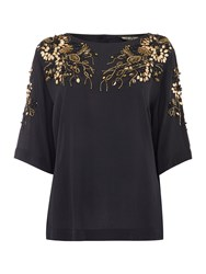 Biba Luxe Embellished Button Back Detail Blouse Black