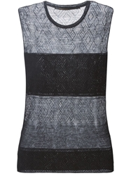 Agnona Diamond Open Knit Tank Top Black