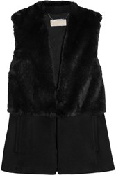 Michael Michael Kors Faux Fur And Felt Vest Black