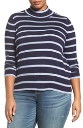 Melissa Mccarthy Seven7 Plus Size Women's Stripe Mock Neck Sweater Evening Blue