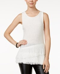 Bar Iii Sleeveless Fringe Sweater Only At Macy's Pearl