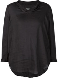 Raquel Allegra Drape Neck Blouse Black