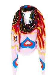 Mary Katrantzou Pink Heart Scarf Modal Cashmere Red